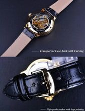 Load image into Gallery viewer, Agustus affordable men's skeleton watch UK - back