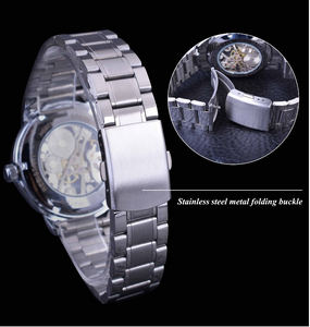 men's black and silver skeleton watch uk - back