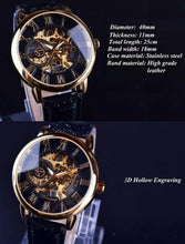 Load image into Gallery viewer, agustus black skeleton mechancial watch specifications