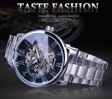Load image into Gallery viewer, men's black and silver skeleton watch uk - automatic mechanical
