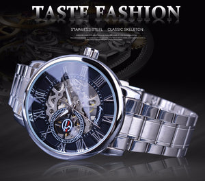 men's black and silver skeleton watch uk - automatic mechanical