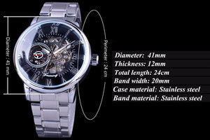 men's black and silver skeleton watch uk - specifications