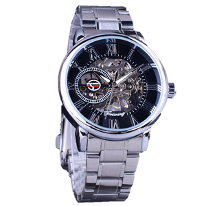 men's black and silver skeleton watch uk