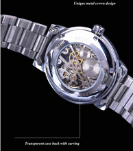 Load image into Gallery viewer, men's black and silver skeleton watch uk mechanical watch