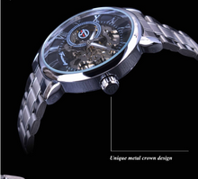 Load image into Gallery viewer, men's black and silver skeleton watch uk - side