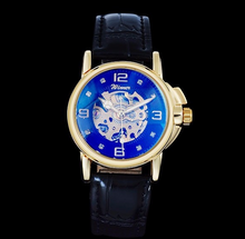 Load image into Gallery viewer, women's automatic skeleton watch UK online - balck