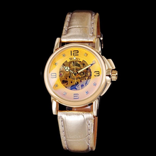 Load image into Gallery viewer, women's automatic skeleton watch UK online - gold