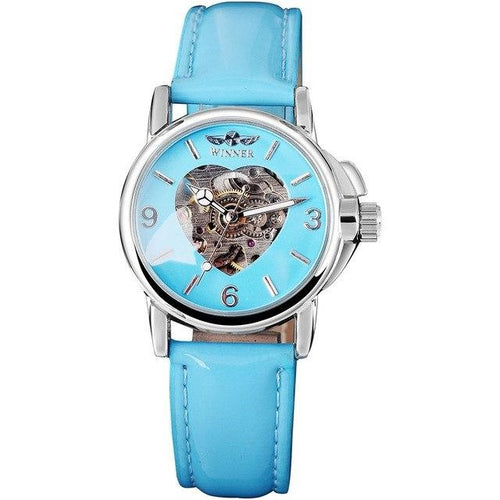 blue ladies skeleton watch with heart singapore