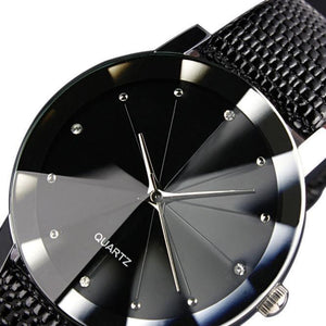 fashion watch with leather strap