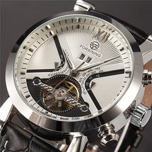 Load image into Gallery viewer, affordable black and silver tourbillion skeleton watch singapore