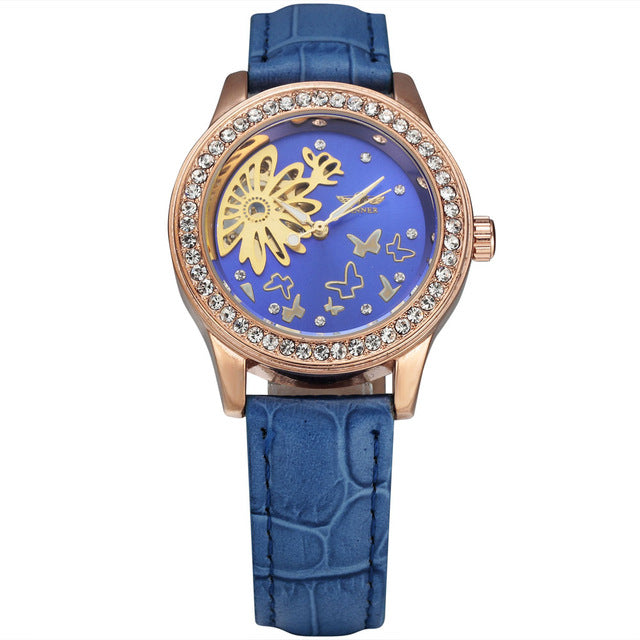 women's mechanical skeleton watch online singapore - blue
