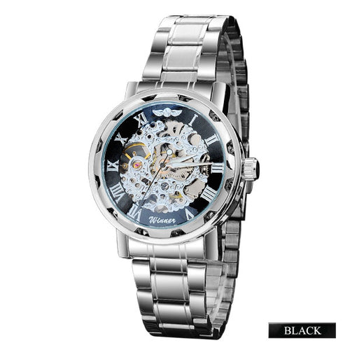 tempo - black dial skeleton mechanical watch for men singapore