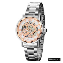 Load image into Gallery viewer, tempo - rose gold skeleton mechanical watch for men singapore