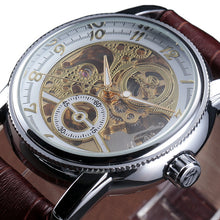 Load image into Gallery viewer, TRAVELLER - luxury skeleton mechanical watch UK - brown white