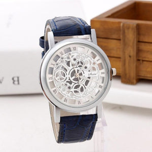 BASICNESS - simple affordable skeleton watch singapore- blue silver