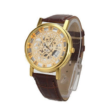 Load image into Gallery viewer, BASICNESS - simple affordable skeleton watch UK brown gold