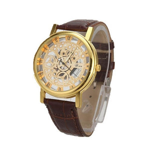 BASICNESS - simple affordable skeleton watch UK brown gold