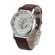 Load image into Gallery viewer, BASICNESS - simple affordable skeleton watch UK brown silver