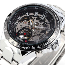 Load image into Gallery viewer, black and silver skeleton watch singapore- free delivery