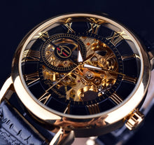 Load image into Gallery viewer, Agustus affordable men's skeleton watch singapore - black and gold