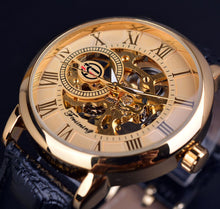 Load image into Gallery viewer, Agustus affordable men's skeleton watch singapore - brown & gold