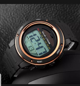 solar powered digital sports watch singapore - gold