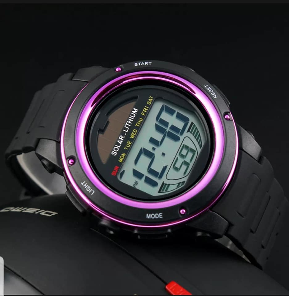 solar powered digital sports watch singapore - purple