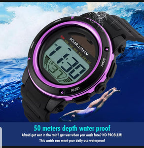solar powered digital sports watch singapore - waterproof