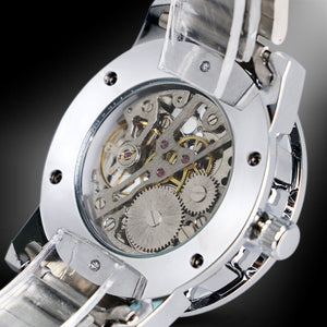 tempo - silver skeleton mechanical watch for men singapore - back