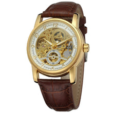 Load image into Gallery viewer, traveller skeleton watch UK - brown gold