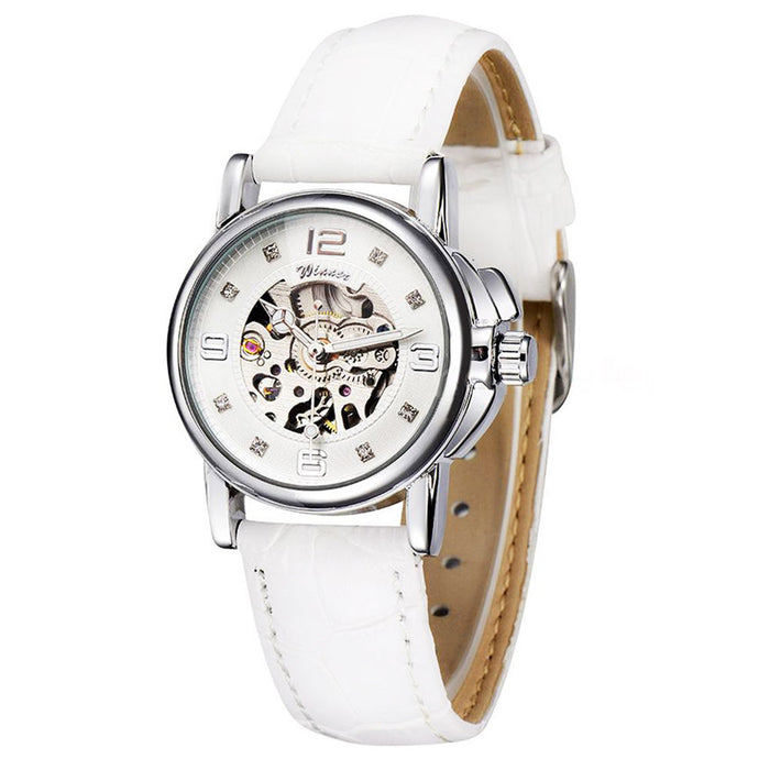 women's mechanical skeleton watch - white