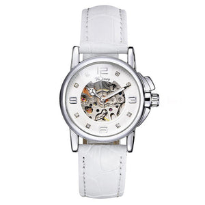 women's automatic skeleton watch UK online leather