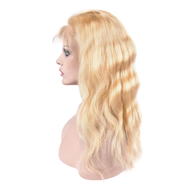 Left side of 613 Blonde Beach Wave Human Hair Lace Front Wig