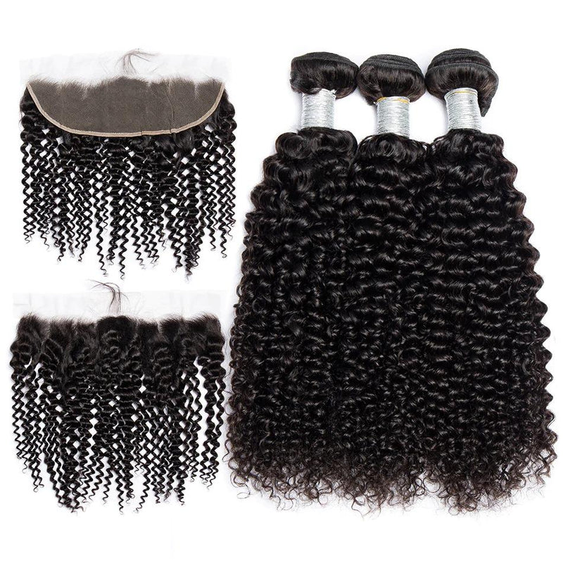 ARISON Kinky Curly Bundles With Frontal