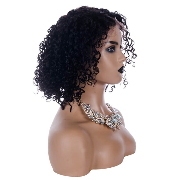 Human Hair Lace Front Curly Bob Wig,right side