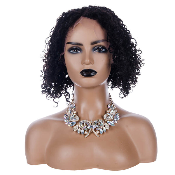 Human Hair Lace Front Curly Bob Wig