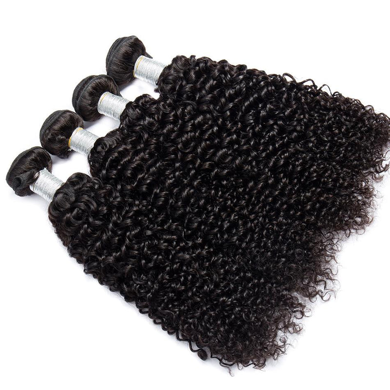 Kinky Curly 4 Bundles With Frontal