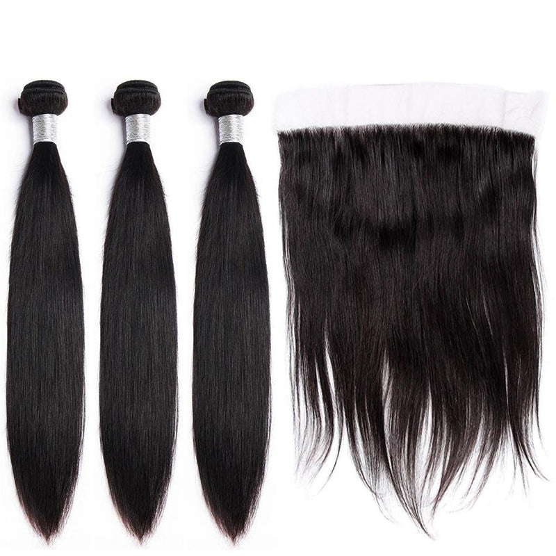 Straight Hair 3 Bundles With Lace Frontal