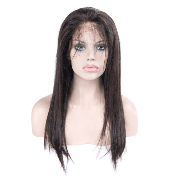Black Long Silky Straight Human Hair Lace Front Wig