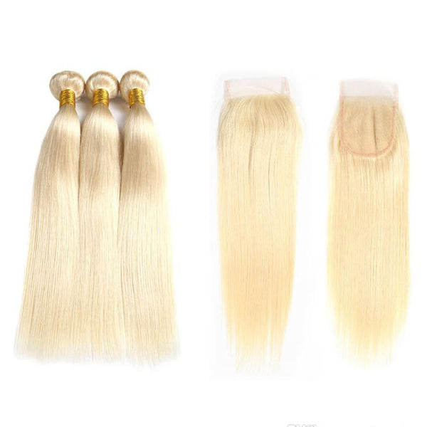 30% OFF | 3 Blonde Human Hair Bundles with 4x4 Lace Closure