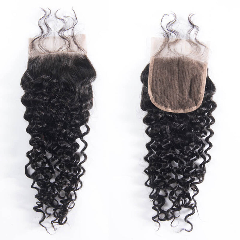 Deep Curly Remy Human Hair 4x4 Lace Closure