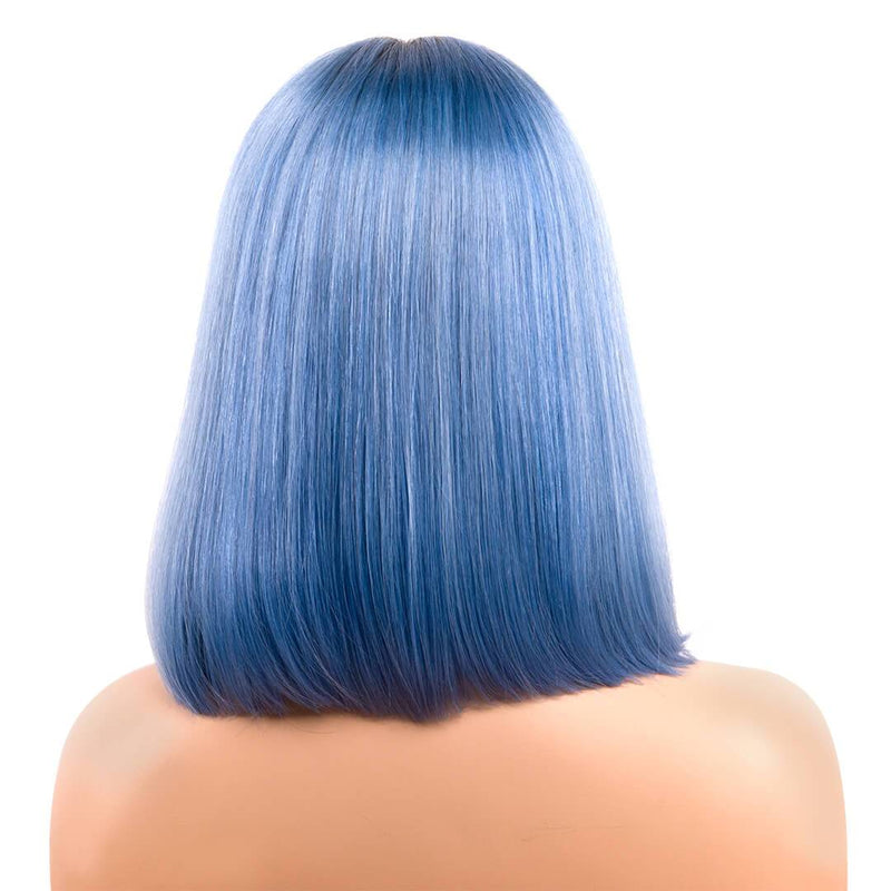 human hair lace front wigs,back of ombre blue bob wig with dark roots, mist over sea