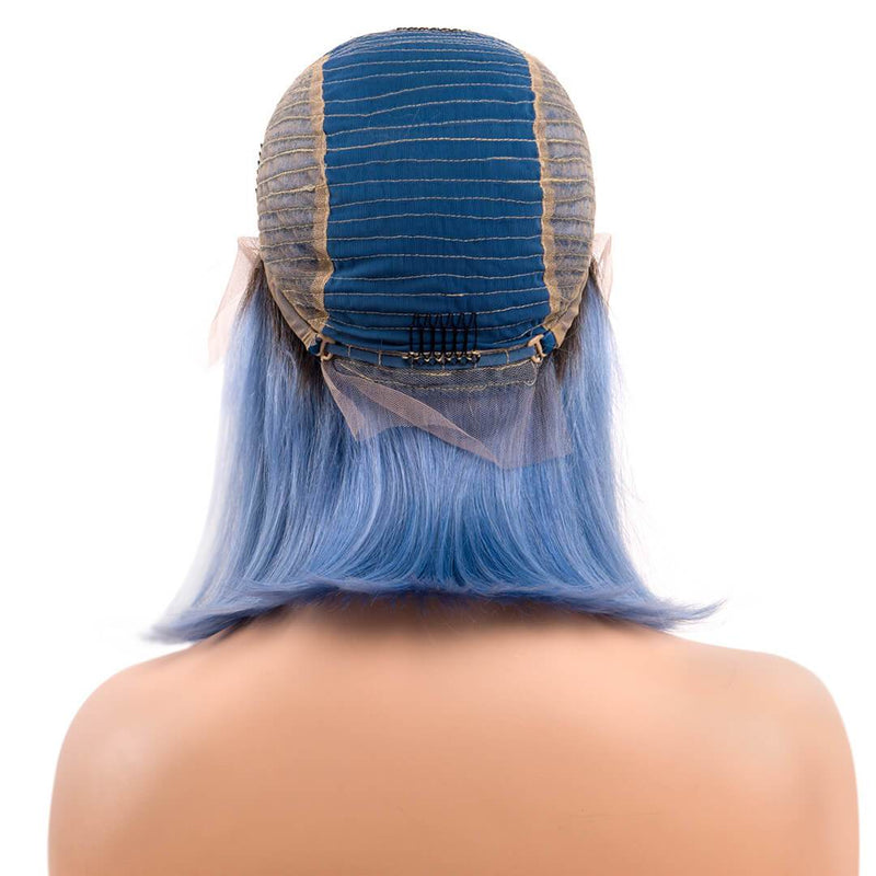 human hair lace front wigs, wig cap of ombre blue bob wig, mist over sea