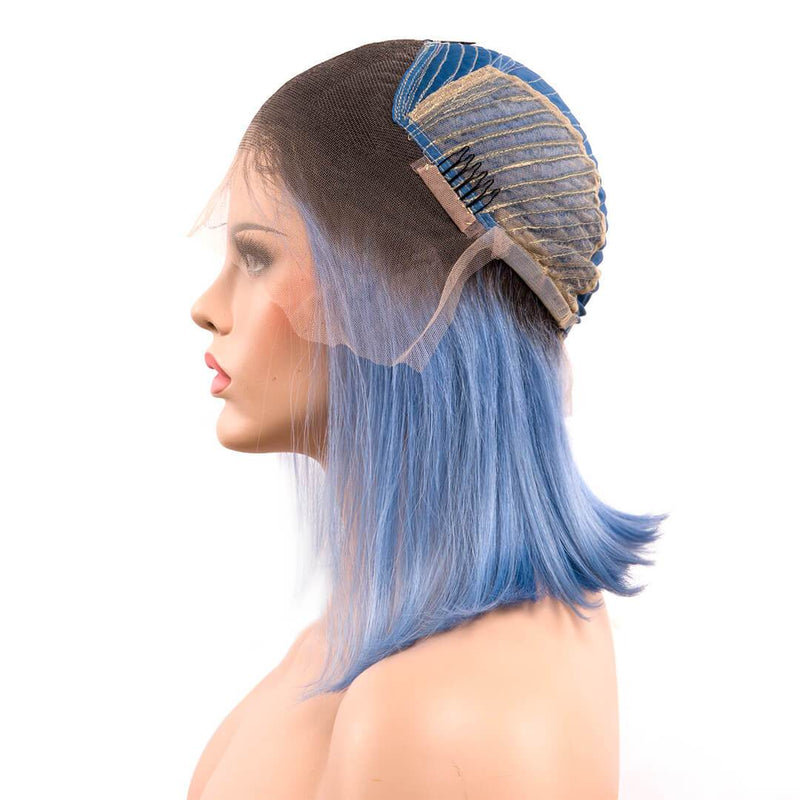 human hair lace front wigs, clips of omber blue bob wigs, mist over sea