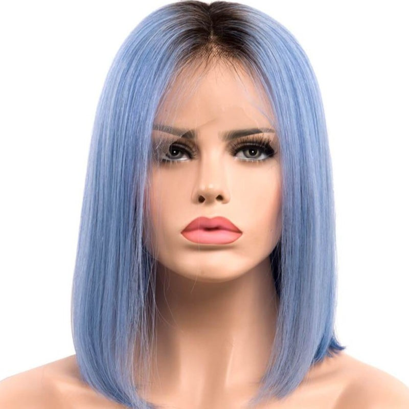 Human hair lace front wigs, blue ombre bob wigs with dark roots,mist over sea