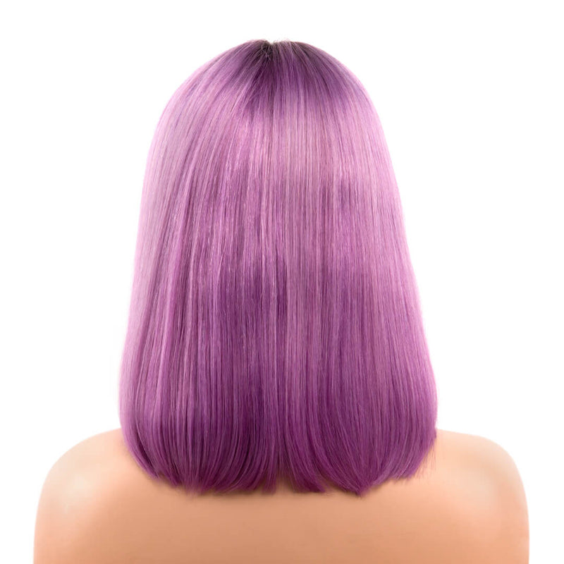 Back of ombre lavender natural straight human hair lace front bob wig-Lavender