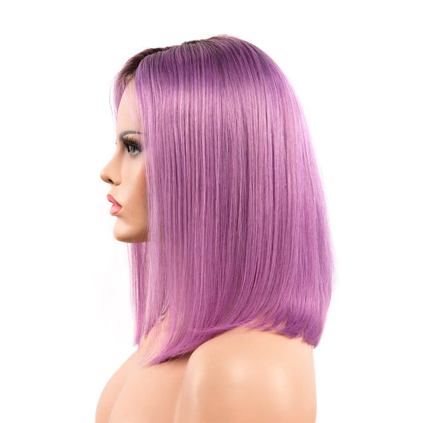 Left of ombre lavender natural straight human hair lace front bob wig-Lavender