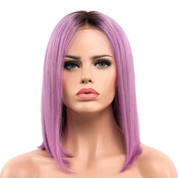 Ombre Lavender natural straight human hair lace front bob wig-Lavender