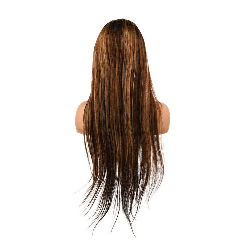 human hair lace front wig with highlights - Rhythm