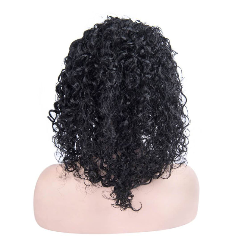 Back of Jet Black Loose Curly Human Hair Lace Front Wig